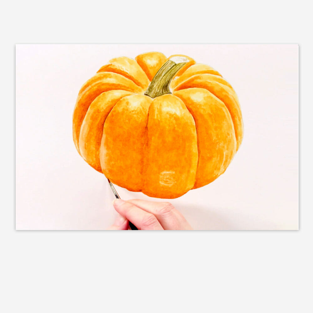 Realistic pumpkin paint watercolor