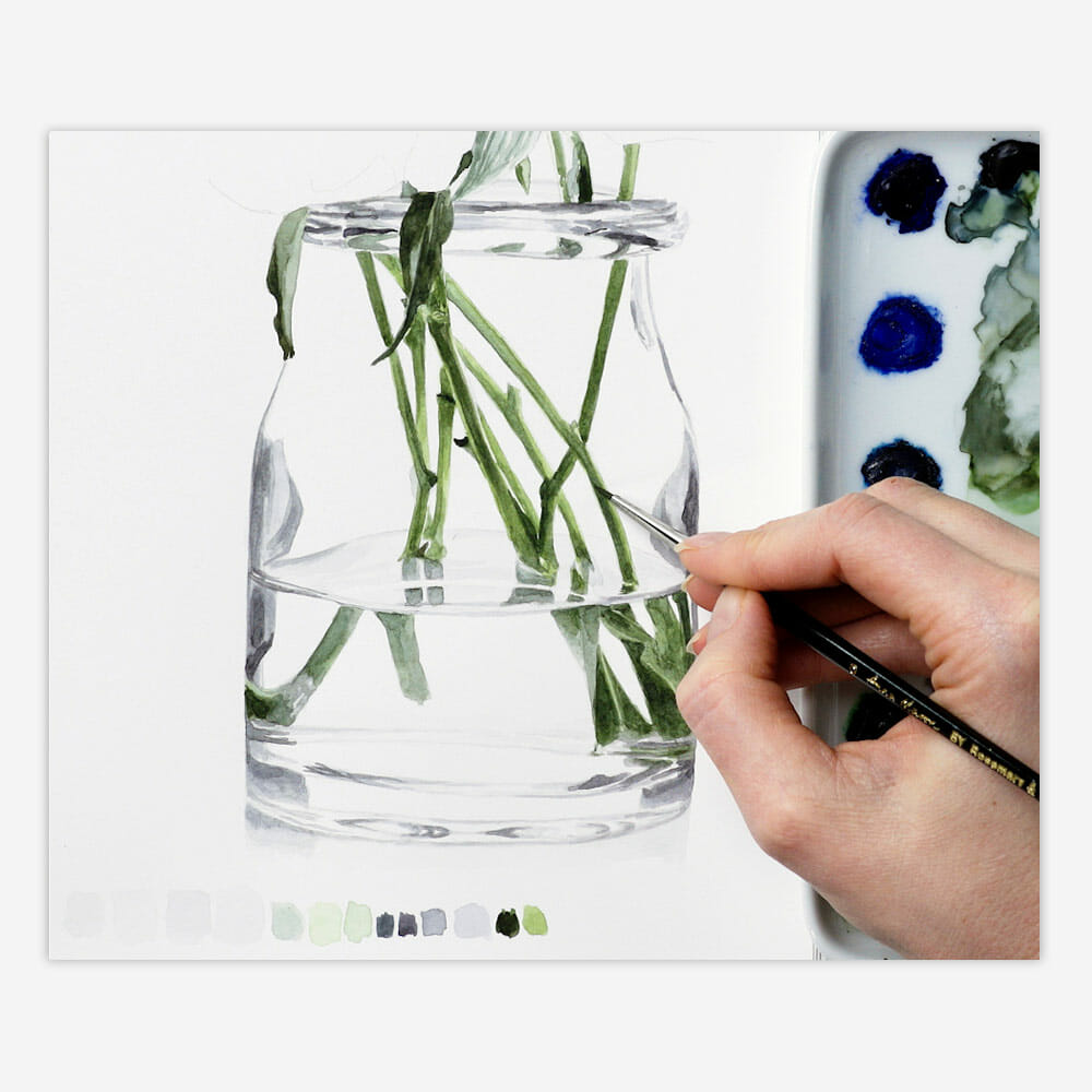 Glass, water, paint