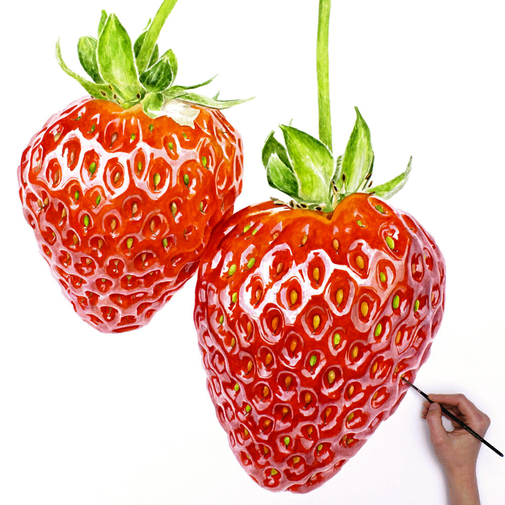 paint strawberries in watercolour